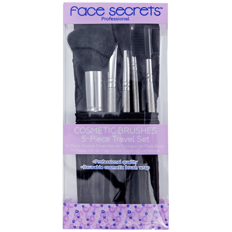 Face Secrets 5-Piece Travel Brush Set with Black Pouch