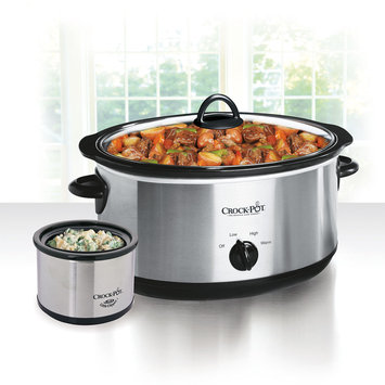 Crock-Pot 8-Quart Manual Slow Cooker, Stainless Steel with Little Dipperr Food Warmer SCV803-SS