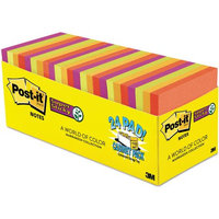 Post-it(R) Miami Collection Super Sticky Notes, 3in. x 3in, Assorted Colors, 70 Sheets Per Pad, Pack Of 24 Pads