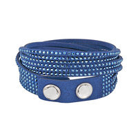 Swarovski Silver-Tone Blue Fabric Crystal Stud Wrap Bracelet