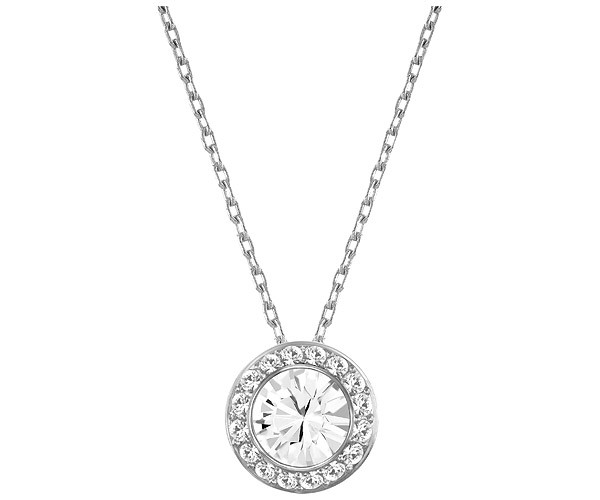 Swarovski Necklace, Silver-Tone Crystal Circle Pendant
