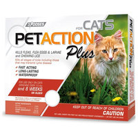 PetAction Plus Flea and Tick Protection for Cats, 3-Month Supply