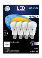 G E Lighting 4 Packs GE 4PK 9W WHT A19 Bulb