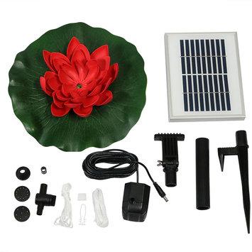 Sunnydaze Decor Sunnydaze Floating Lotus Flower Solar-Powered Water Fountain Kit, 48 GPH, Red