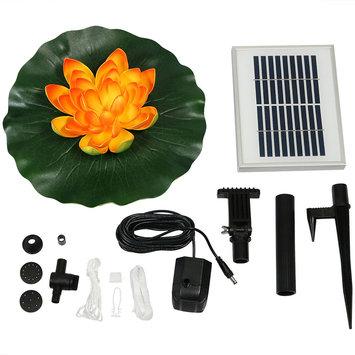 Sunnydaze Decor Sunnydaze Floating Lotus Flower Solar-Powered Water Fountain Kit, 48 GPH, Orange