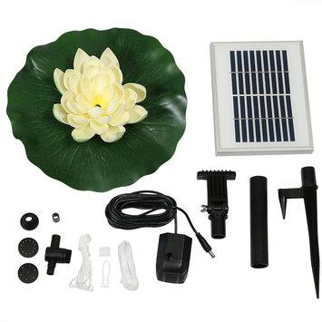 Sunnydaze Decor Sunnydaze Floating Lotus Flower Solar-Powered Water Fountain Kit, 48 GPH, White