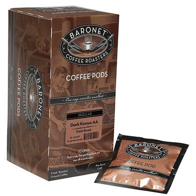 Baronet Coffee Fresh Roasted Dark Kenya AA Dark Roast (12 g) Coffee Pods, 16 ct Pods, 3 pk