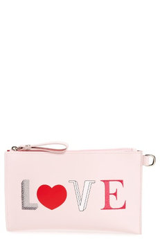 Longchamp Kiss & Love Leather Cosmetics Pouch, Size One Size - Pink