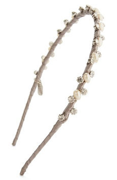 Natasha Couture Imitation Pearl & Crystal Skinny Headband, Size One Size - Grey