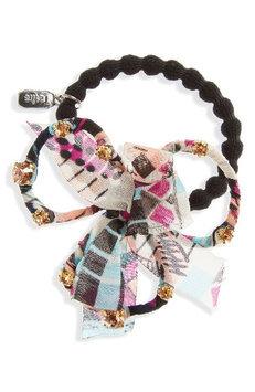 Natasha Couture Crystal Bow Ponytail Holder, Size One Size - Pink