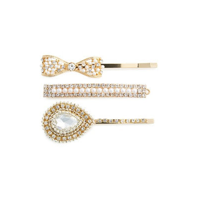 Natasha Couture 3-Pack Embellished Bobby Pins, Size One Size - Metallic