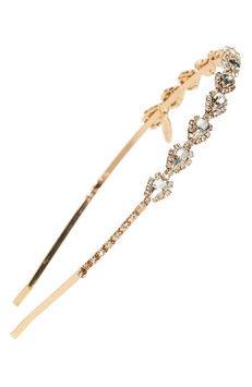 Natasha Couture Skinny Pear Crystal Headband, Size One Size - Metallic