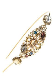 Natasha Couture Crystal Headband, Size One Size - Metallic