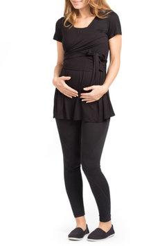 Women's Savi Mom Pasadena Wrap Maternity Tunic, Size Large - Black
