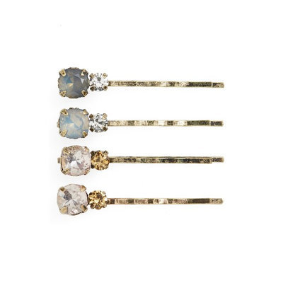 Natasha Couture 4-Pack Crystal Bobby Pins, Size One Size - Metallic