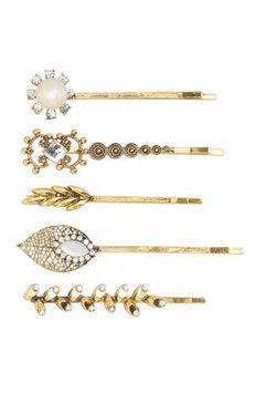 Natasha Couture 5-Pack Embellished Bobby Pins, Size One Size - Metallic