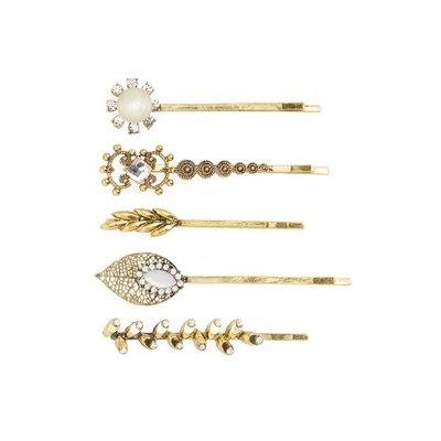 Natasha Couture 5-Pack Embellished Bobby Pins, Size One Size - Metallic