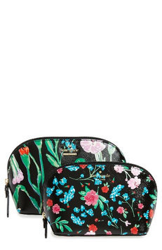 Kate Spade New York Cameron St. Jardin Abalene Set Of 2 Cosmetic Cases, Size One Size - Black Multi