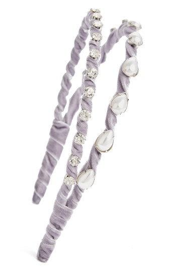 Topshop Embellished Velvet Headband, Size One Size - Purple