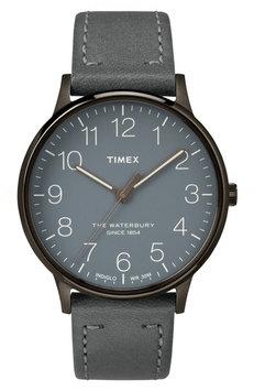Timexr Timex Waterbury Classic Leather Strap Watch, 40mm
