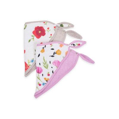 Little Unicorn Neutral 2 Pack Summer Poppy Cotton Muslin Bandana Drool Bib Set