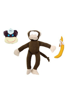 Infant Under The Nile 3-Piece Monkey Bib, Stuffed Animal And Stuffed Banana Set, Size One Size - Brown