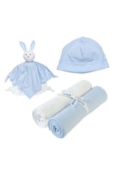 Under The Nile 4-Piece Swaddle Blanket, Beanie & Rabbit Lovey Toy Set, Size One Size - Blue