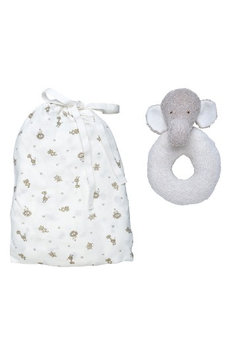 Under The Nile 2-Piece Safari Print Fitted Crib Sheet & Stuffed Elephant Toy Set, Size One Size - White
