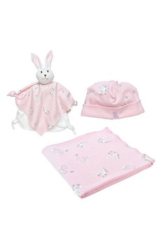 Under The Nile 3-Piece Bunny Print Swaddle Blanket, Beanie & Lovey Toy Set, Size One Size - Pink