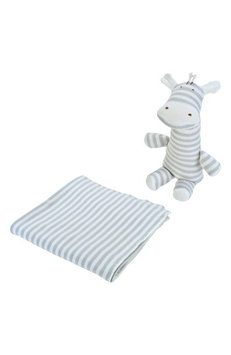 Under The Nile 2-Piece Stripe Swaddle Blanket & Stuffed Animal Set, Size One Size - Grey