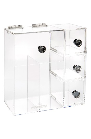 Impressions Vanity Co. Diamond Collection Brush Holder With Drawers, Size One Size - Clear