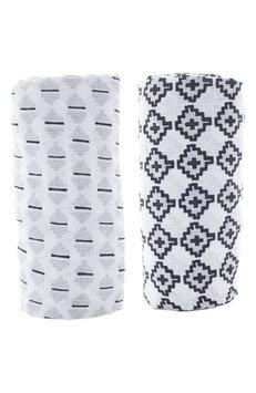 Lil Lemon By Zestt Urban Geometry 2-Pack Organic Cotton Swaddle Blankets, Size One Size - Black