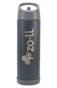 Infant Zoli Pow Pip 16-Ounce Insulated Stainless Steel Bottle With Straw, Size One Size - Grey