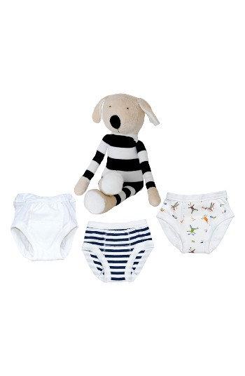 Infant Under The Nile 4-Piece Training Pants & Buddy Stuffed Animal Set, Size 12-24M - Blue