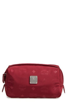 Mcm Dieter Water Repellent Nylon Pouch, Size One Size - Ruby Tan
