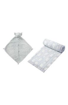 Angel Dear Jacquard Blanket & Blankie Set, Size One Size - Grey