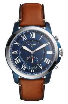 Men's Fossil Q Grant Leather Strap Smart Watch, 44mm