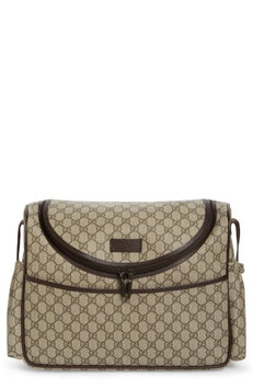 Infant Gucci Double G Logo Diaper Bag - Brown