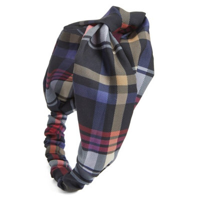 Berry Plaid Knot Head Wrap, Size One Size - Red