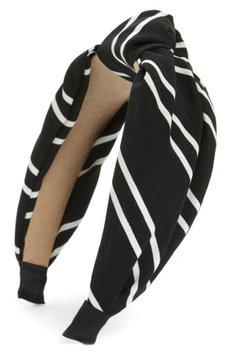 Cara Stripe Knot Headband, Size One Size - Black