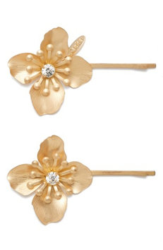 Tasha Set Of 2 Blooming Bobby Pins, Size One Size - Metallic