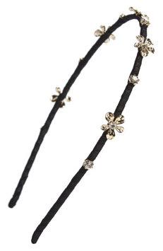 Cara Crystal Daisy Headband, Size One Size - Black
