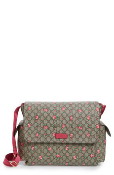 Infant Gucci Rose Gg Supreme Coated Canvas Diaper Bag - Brown