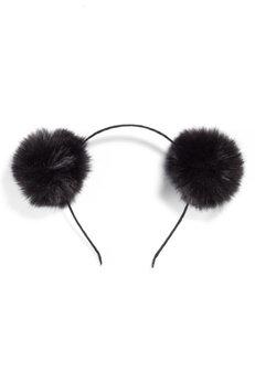Tasha Double Faux Fur Pom Headband, Size One Size - Black