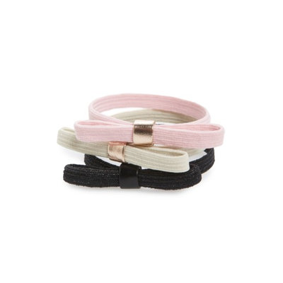 L. Erickson Set Of 3 Bow Ponytail Holders, Size One Size - Pink