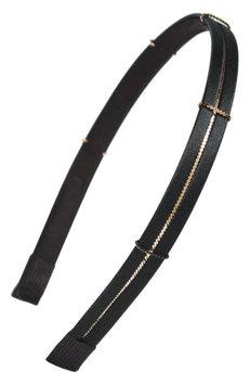 Cara Skinny Metal Chain Headband, Size One Size - Black