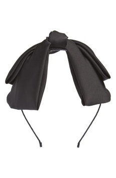Cara Satin Bow Headband, Size One Size - Black