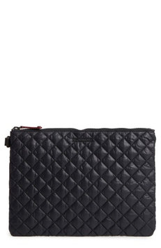 Mz Wallace Metro Quilted Oxford Nylon Zip Pouch, Size One Size - Black