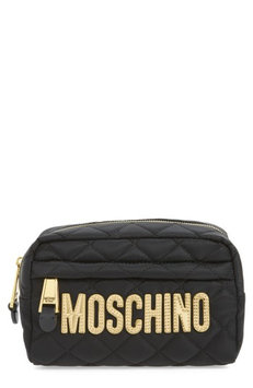 Moschino Quilted Logo Makeup Case, Size One Size - Black/ Gold