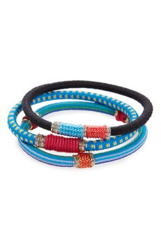 L. Erickson Moroccan Set Of 3 Ponytail Holders, Size One Size - Blue